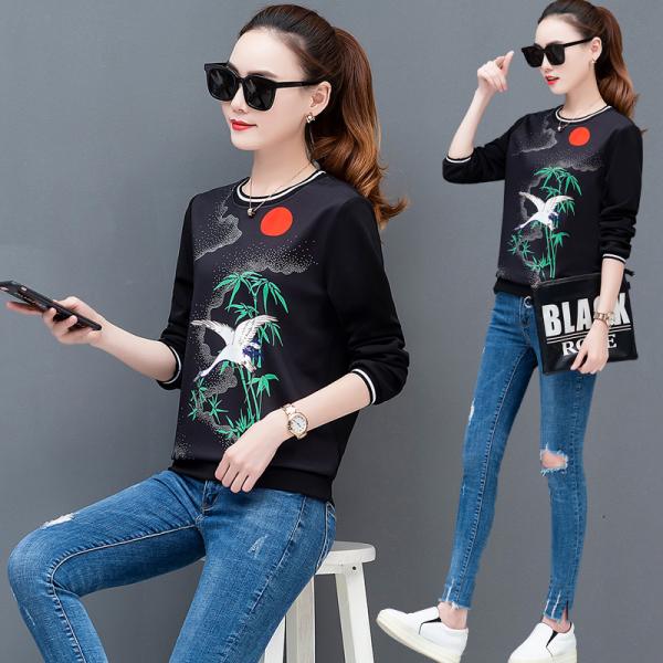 KTY12455#套头卫衣女长袖2020秋季新款上衣复古印花中国风时尚卫衣