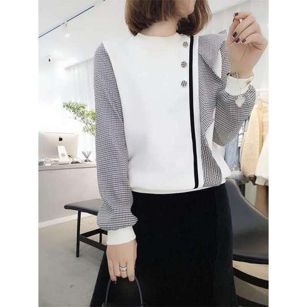 KTY12594#圆领卫衣宽松韩版拼接长袖衫