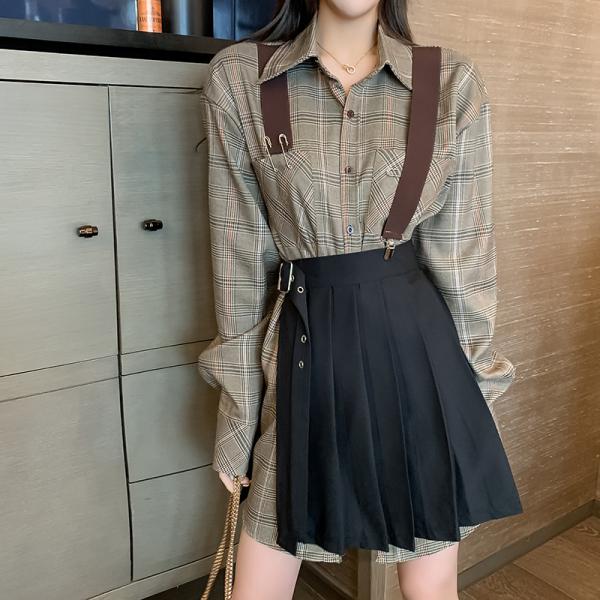 KTY12544#套装女2020新款时尚气质轻熟风背带衬衫百褶裙洋气两件套