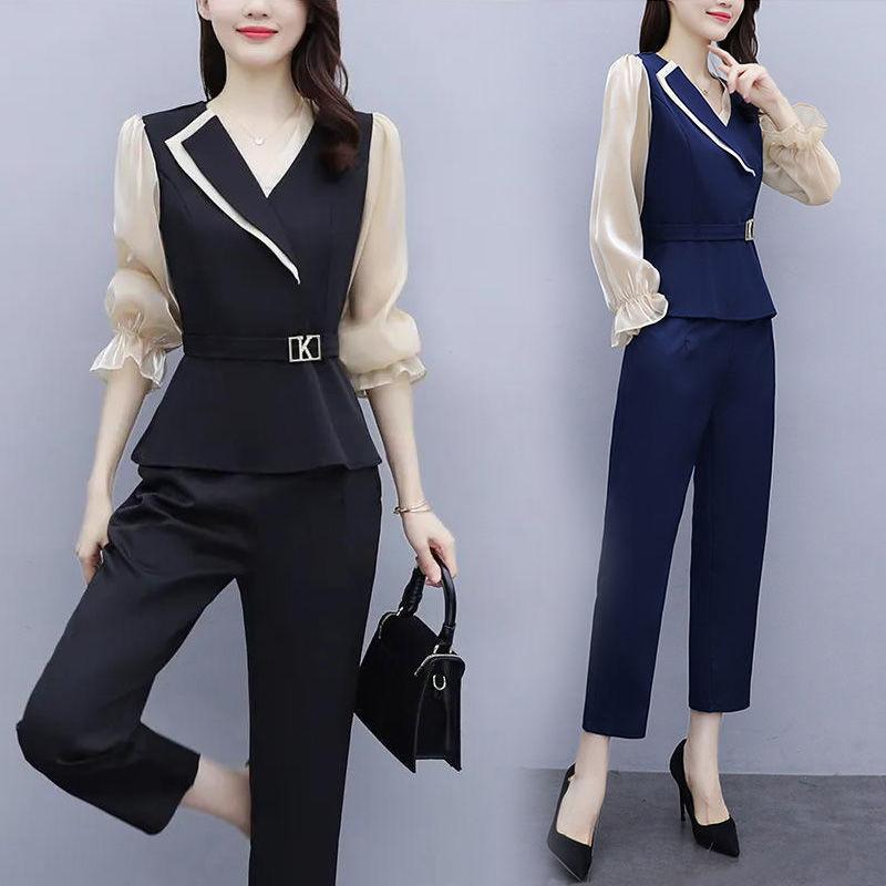 秋大码女装胖mm减龄显瘦遮肚时尚新款高端名媛气质套装洋气两件套