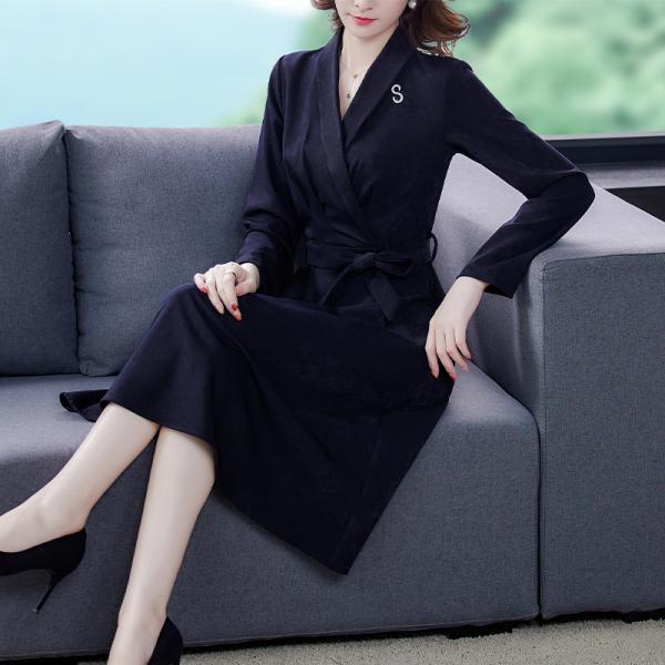 RS14895#秋冬新款妈妈装气质连衣裙40-50中年洋气显瘦长袖裙子