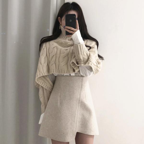 KTY12543#韩国chic温柔高领麻花纹短款针织衫毛衣+不规则显瘦高腰...