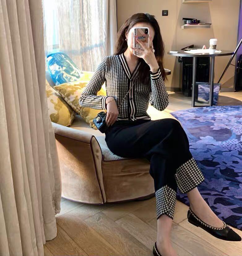 2021春秋新款套装女名媛小香风复古千鸟格针织女神范两件套装春装