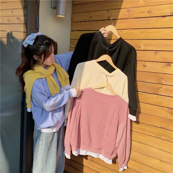 KTY11216#秋冬新款时尚长袖宽松圆领假两件卫衣外套
