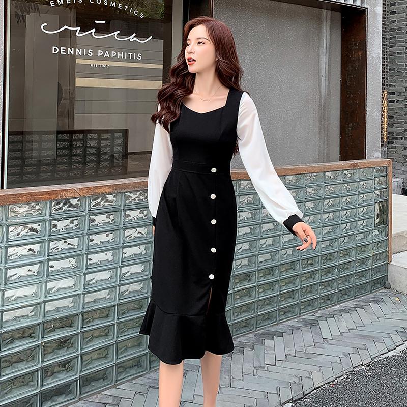 원피스 여성 예쁜옷 추석선물  쉬폰 소매 하이웨이스트 롱 원피스 플레어  두부쉬폰 원피스
