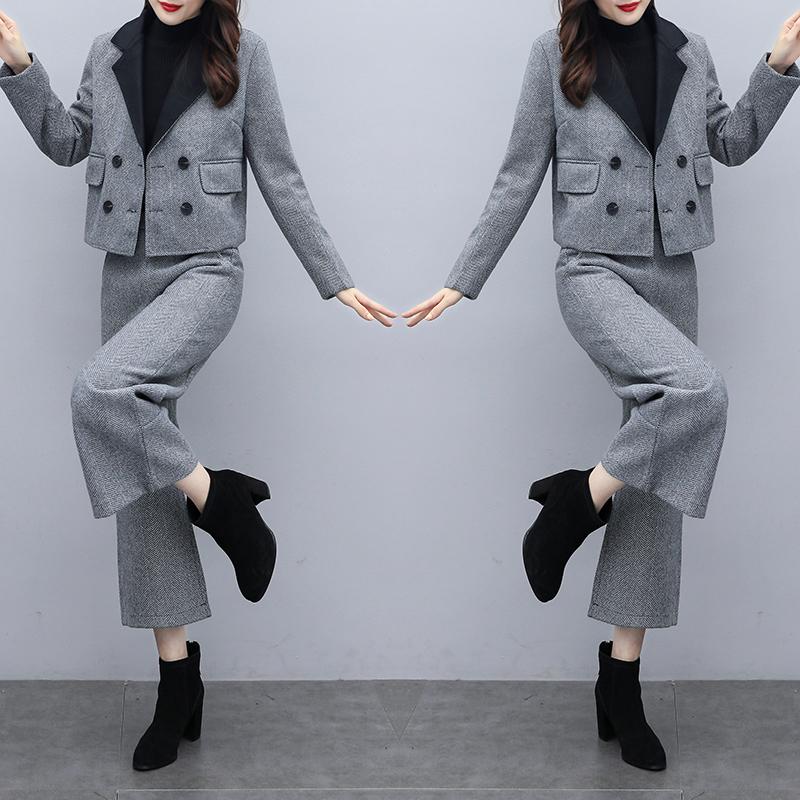 일리룩 여성용 겨울 투피스 팬츠 니트 재킷 와이드핏 팬츠 캐주얼 모던 세트 여성용 가디건
