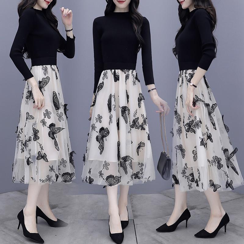 선물 겨울 예쁜옷   여성 쿨링 추석선물  니트 스웨터 시스루 원피스  양상추니트 원피스