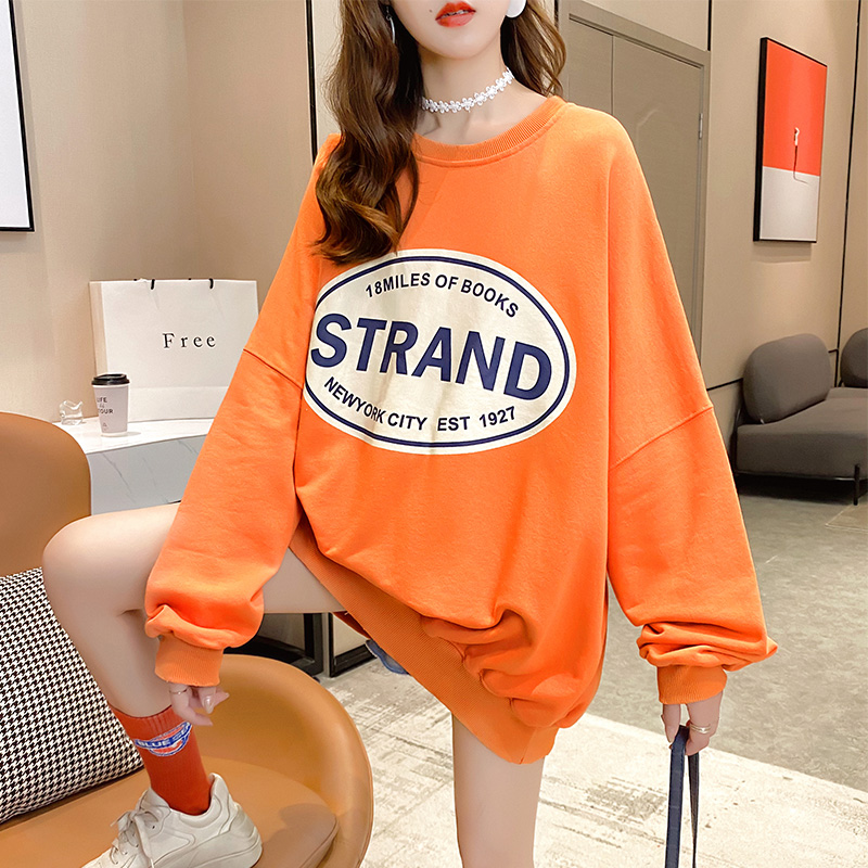 实拍2021春款棉质宽松长袖卫衣女网红同款