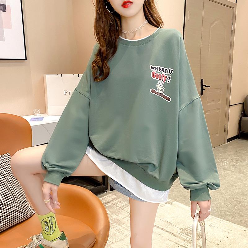 实拍2021棉质春款潮薄假两件卫衣T��女百搭网红韩版宽松外套潮