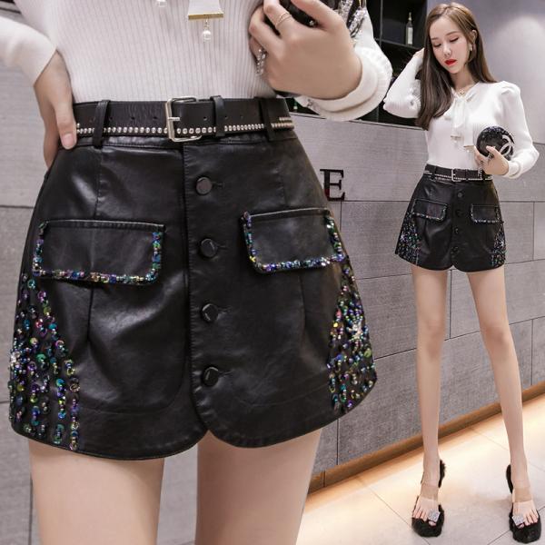 TS49557#新款女装韩版手工钉珠PU皮高腰修身显瘦半身裙包臀A字短裙潮