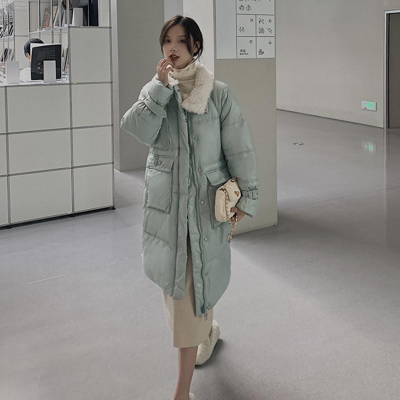 에이프릴래빗 양털 양털 다운 롱 롱 기장 여성용 오버핏 데일리 재킷 여성용  OC08