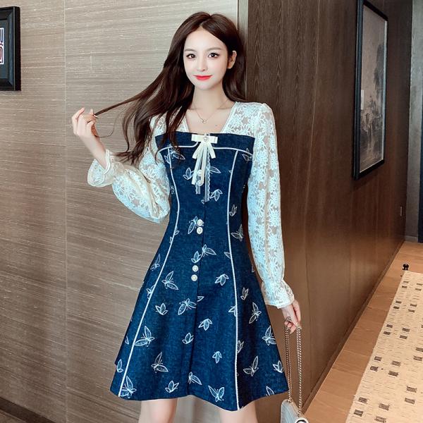TS49596#秋冬新款时尚气质方领连衣裙蕾丝拼接轻奢显瘦A字裙