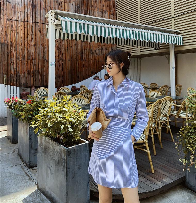 라이프 셔츠 원피스 코트 슬림핏  프레쉬 추석선물  스트링 원피스 여성  레몬미니 원피스