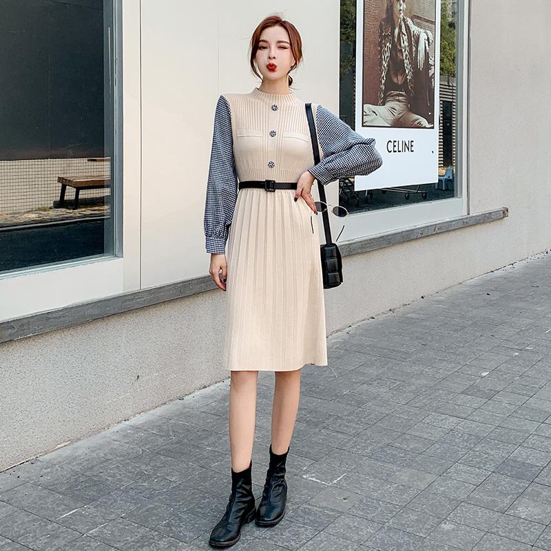 물 예쁜옷   스트링 슬림핏  미디움 롱 클래식 오피스룩 클래식 원피스  당근니트 원피스