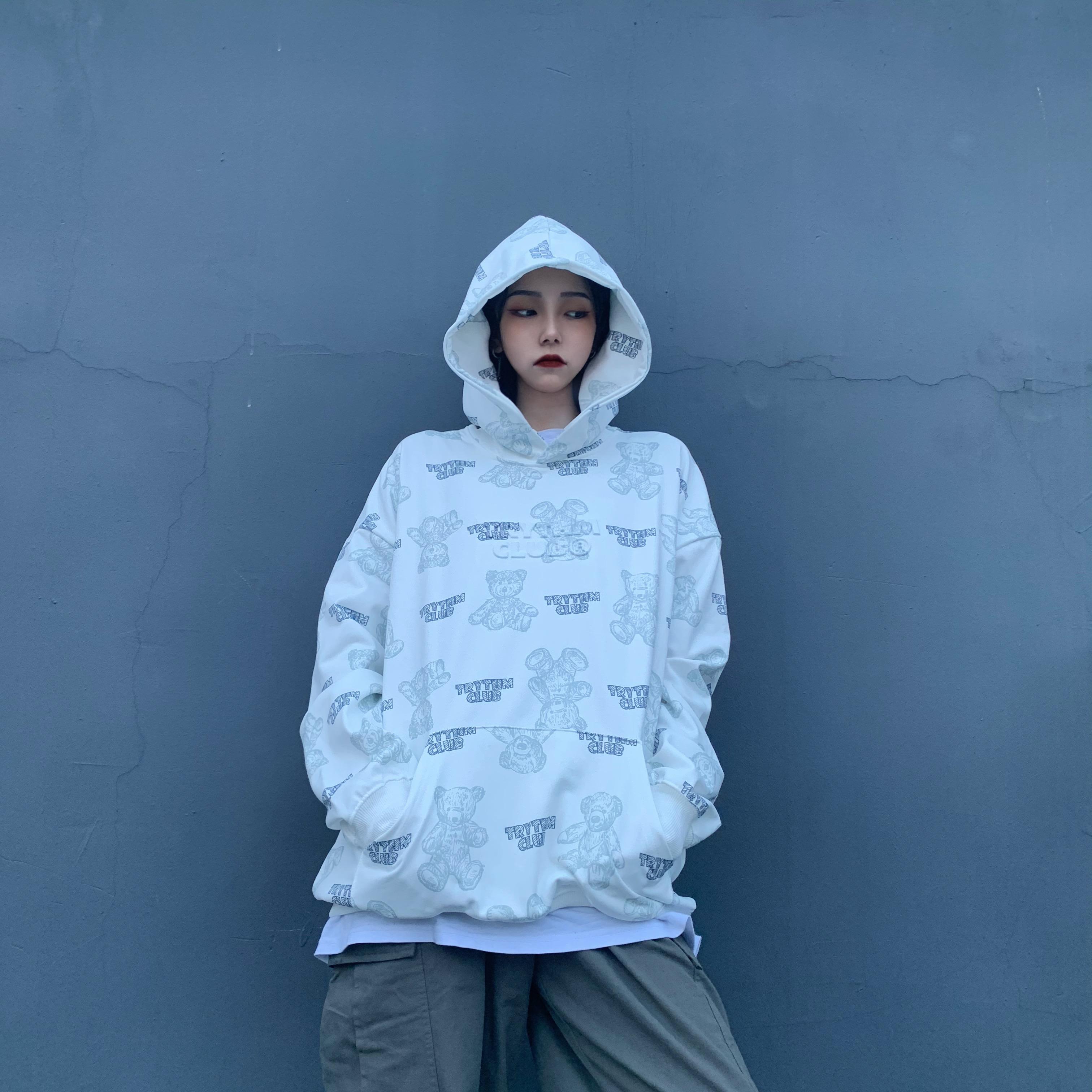 빗 가을 겨울 코디룩 프린팅 플라워 3D프린팅 롱 소매 여성  잉글리쉬페어 긴팔 여성의류