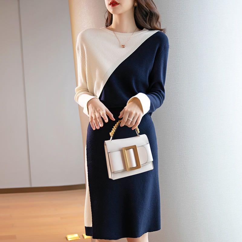 針織連衣裙秋冬2020新款毛衣兩件套寬松顯瘦氣質羊毛半身裙套裝女