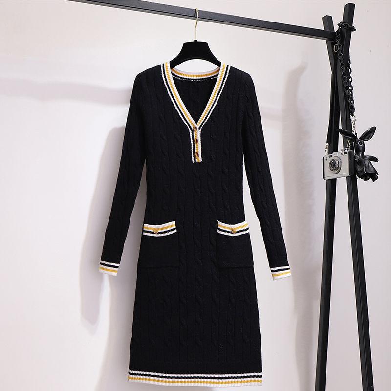 2020初春新款女裝黑色針織連衣裙法式復古收腰顯瘦氣質打底毛衣裙