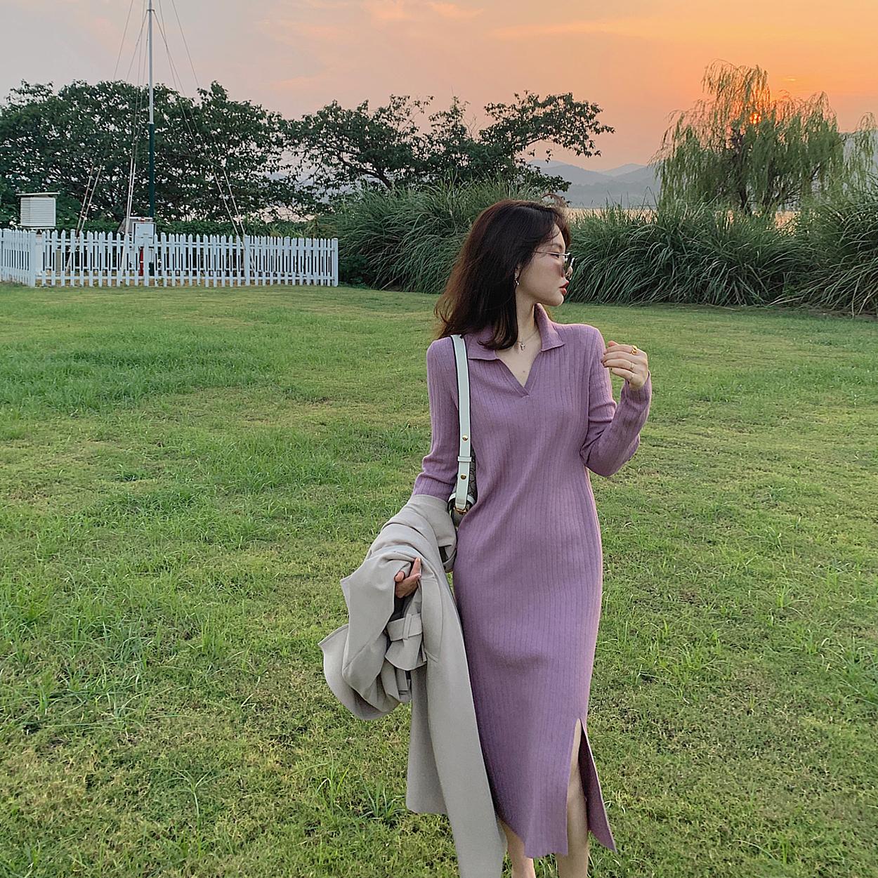 워 20예쁜옷   P오피스룩  O롱 니트 원피스 밴딩  하프 원피스  파인애플니트 원피스