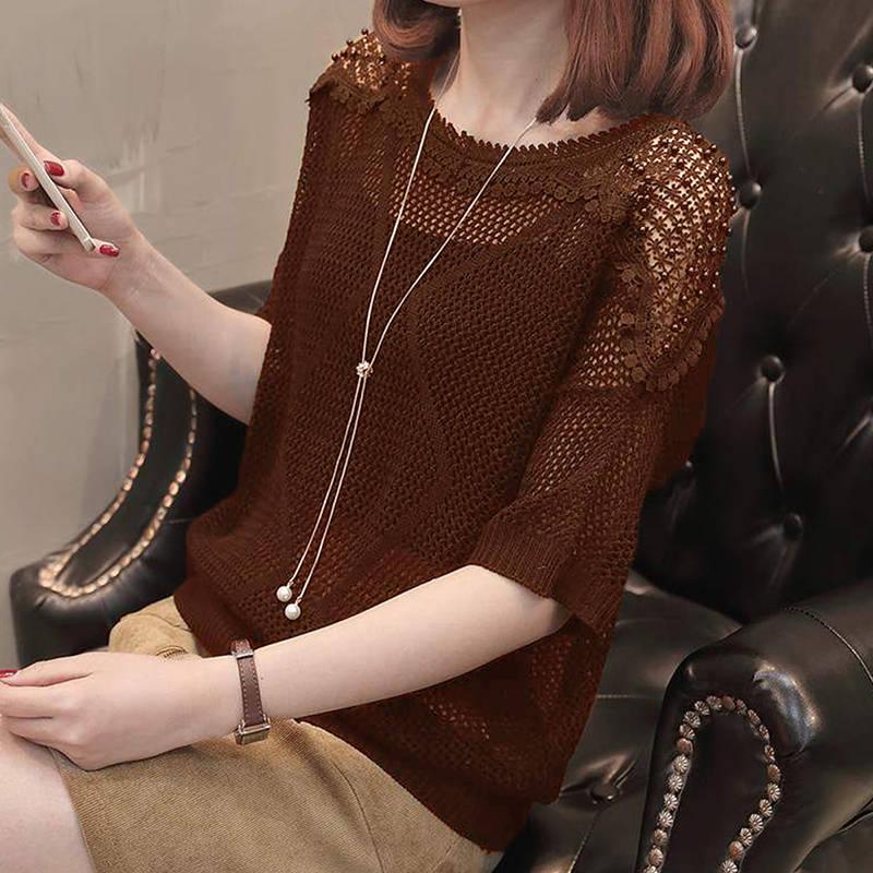 质检官图秋季新品韩版时尚针织衫宽松蕾丝钉珠套头女款针织衫