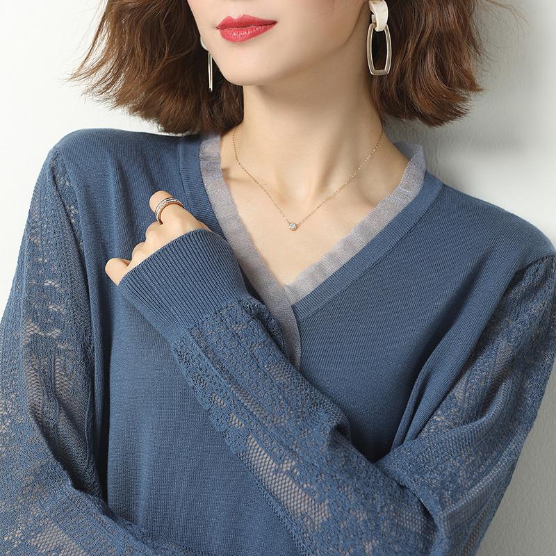 冰絲針織衫長袖T恤女薄款2020秋冬韓版寬松短款鏤空桑蠶絲上衣
