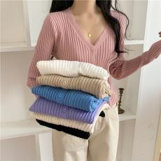 实拍 秋冬新款宽松开衫v领长袖打底衫毛衣女针织衫外套