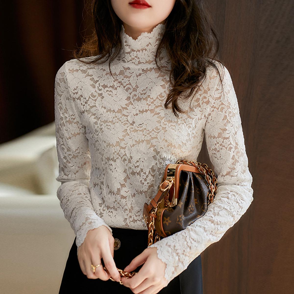 质检官图2020秋冬新款半高领打底衫修身细腻亲肤长袖蕾丝上衣女