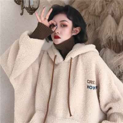 에이프릴래빗 양털 레이어드 느낌 데일리룩 여성용 겨울 오버핏 양털 재킷  OC08