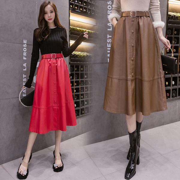 TS49556#配腰带+皮裙半身裙高腰a字长款过膝显瘦皮裙女显瘦潮