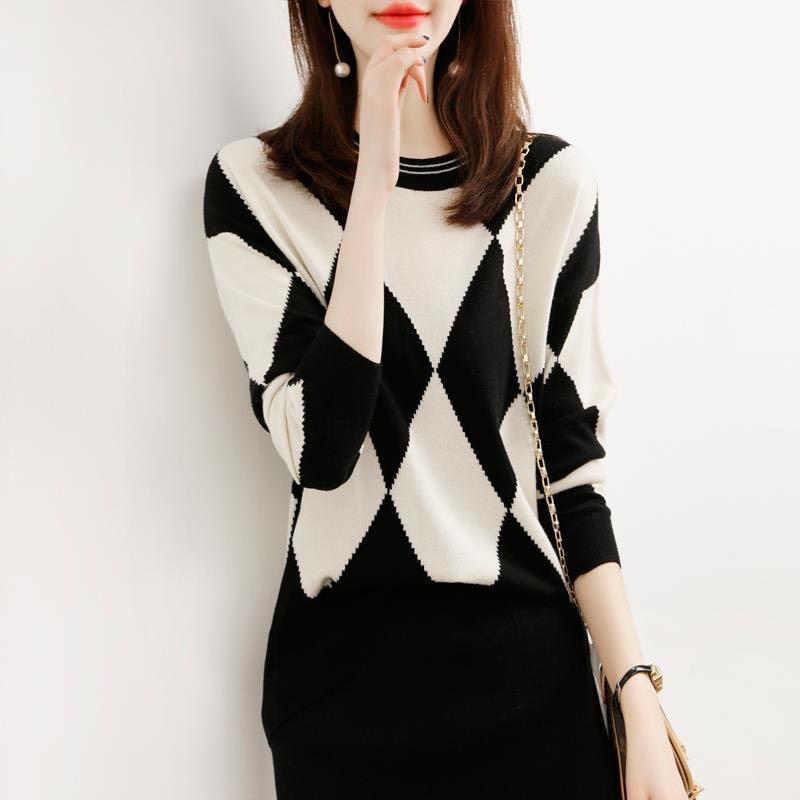日系格子洋氣毛衣女寬松外穿2020秋冬新款套頭氣質減齡打底針織衫