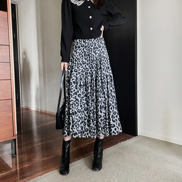 TS49780#豹纹加厚绒里半身裙秋冬季2020新款垂坠感高腰a字显瘦长裙...