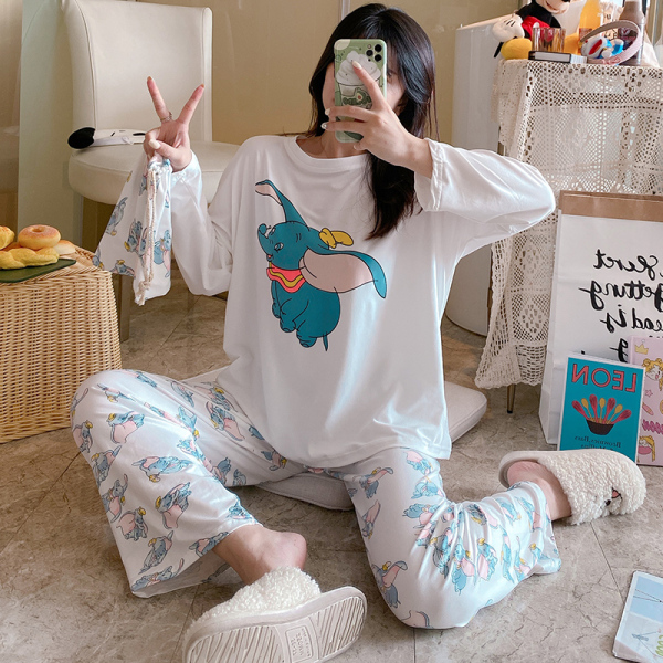 KTY12562#睡衣女春秋款韩版爆款卡通女生家居服秋季两件套送收纳袋