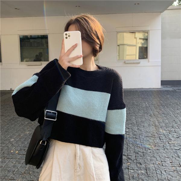 KTY12675#韩版慵懒风宽松撞色条纹长袖针织衣