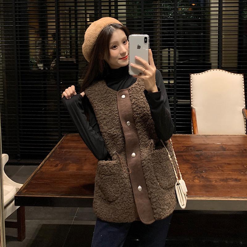 에이프릴래빗 양털 겨울 데일리룩 스트링 양털 양털 조끼 여성용 재킷 베스트 베스트  OC08