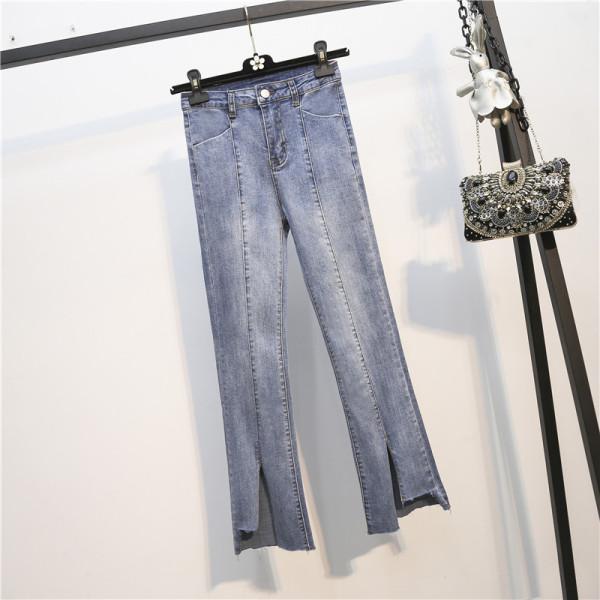 TS48848#秋冬大码微喇叭胖MM牛仔裤纽扣韩版宽松大码牛仔裤