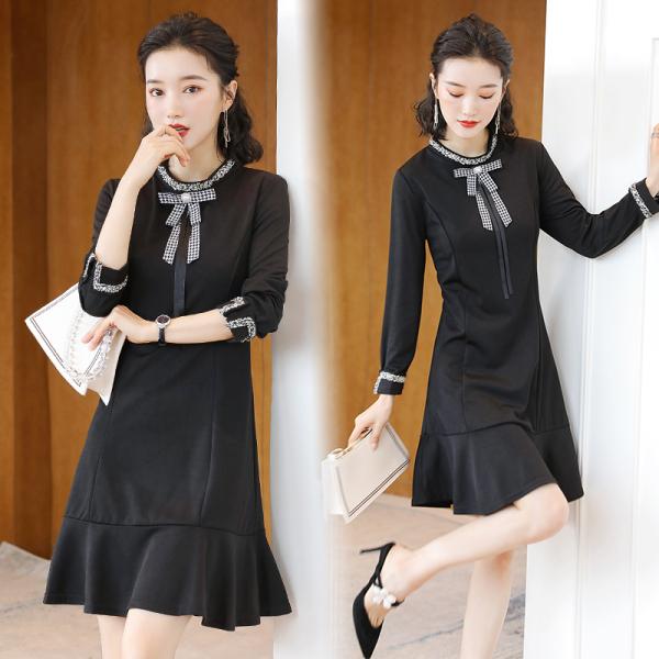KTY12516#气质轻熟风收腰显瘦中长款黑色裙子