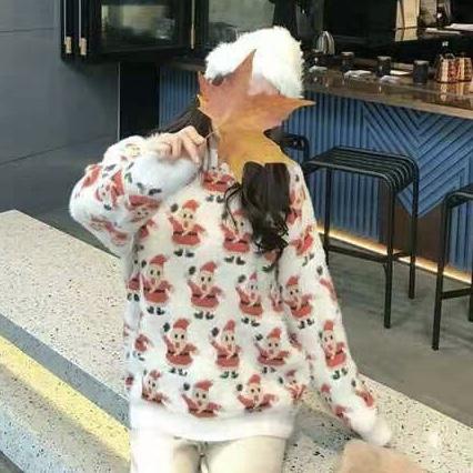 2020日系復古原宿風圣誕老人刺繡針織衫圓領套頭情侶毛衣男女寬松