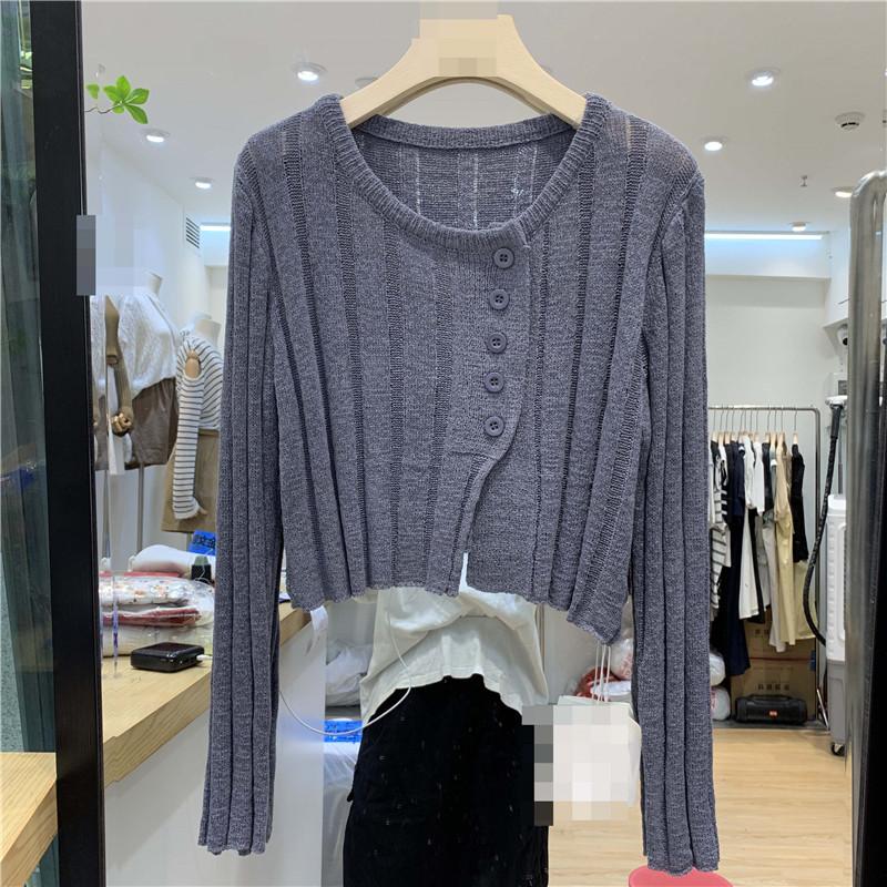 20025#官圖實價  100%化纖  2021秋裝新款長袖單排扣開衫短款上衣