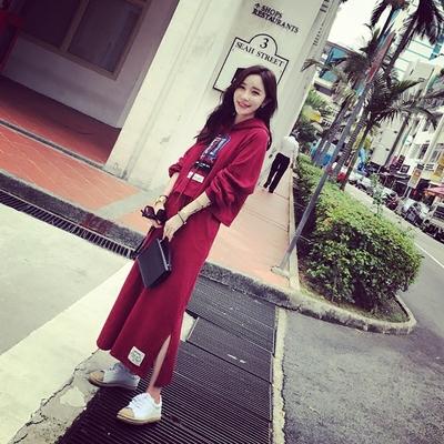 韩版长袖卫衣长裙子套装春秋中长款连衣裙两件套