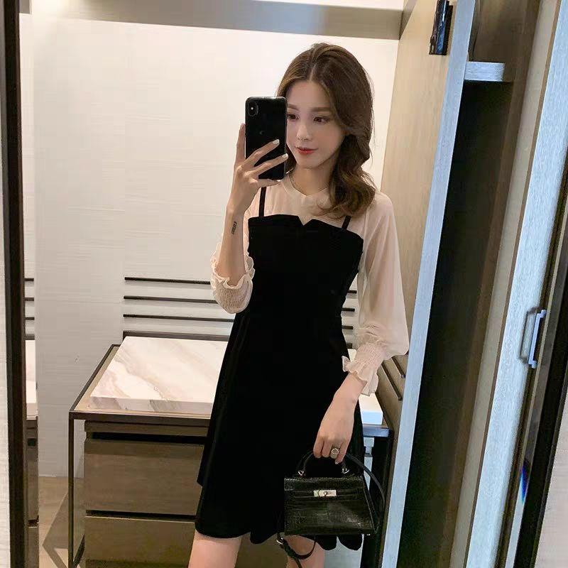 金丝绒连衣裙雪纺拼接假两件泡泡袖超仙A字裙韩版学生裙