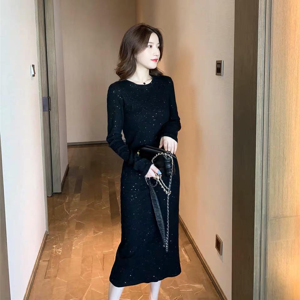 韩版高腰长袖打底裙百搭显瘦连衣裙闪闪厌世风长裙