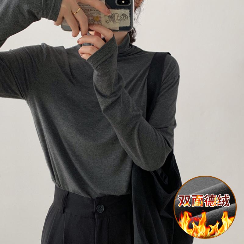 0196#官圖實價 雙面加厚德絨 2020冬裝修身顯瘦純色高領打底衫女