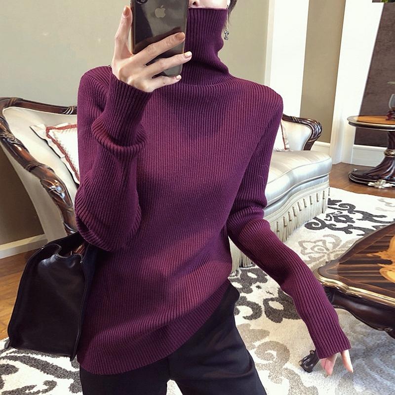 官圖實價 2020冬季純色修身顯瘦高領套頭長袖內搭針織衫女