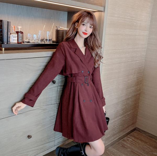 TS49339#秋装新款时尚宽松流行气质中长款单排扣收腰显瘦风衣外套女潮