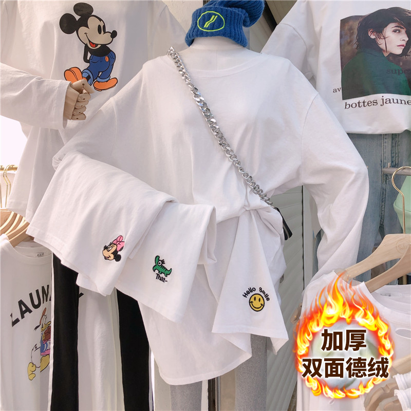 8902拼#官圖實價 雙面德絨 2020冬季加厚打底衫印花白色長袖T恤