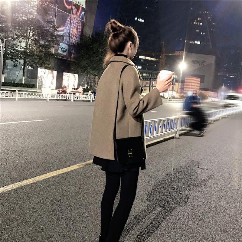 韩版加厚显高矮小个子呢子大衣毛呢外套女短款