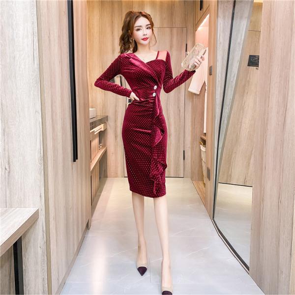 TS47907#秋季时尚不规则衣领单排扣不规则紧身包臀连衣裙