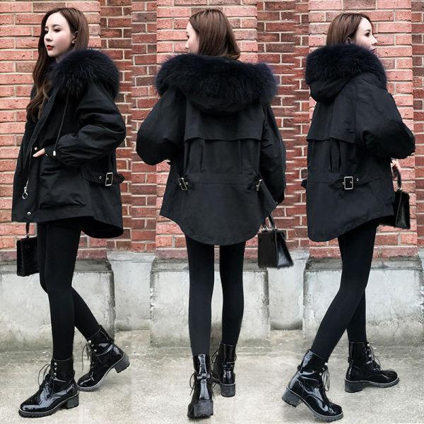 TS52684#黑色羽绒服女新款冬季时尚大毛领茧型工装派克服棉衣外套