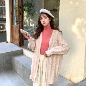 KTY13545#韩版麻花开衫外套女宽松慵懒风中长款外搭毛衣厚上衣