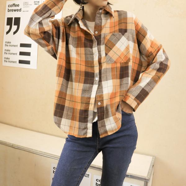 TS47685#韩版秋季大码开衫原宿风经典格子衬衫女休闲中长款衬衣外套