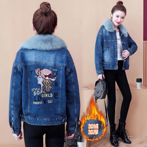 TS56686#女新款冬季百搭加绒外套加厚棉服韩版宽松大毛领短款牛仔棉衣